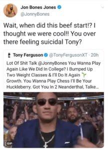 Jon Jones cuts deep with 'suicide' retort to Tony Ferguson - before deleting tweet - Jones