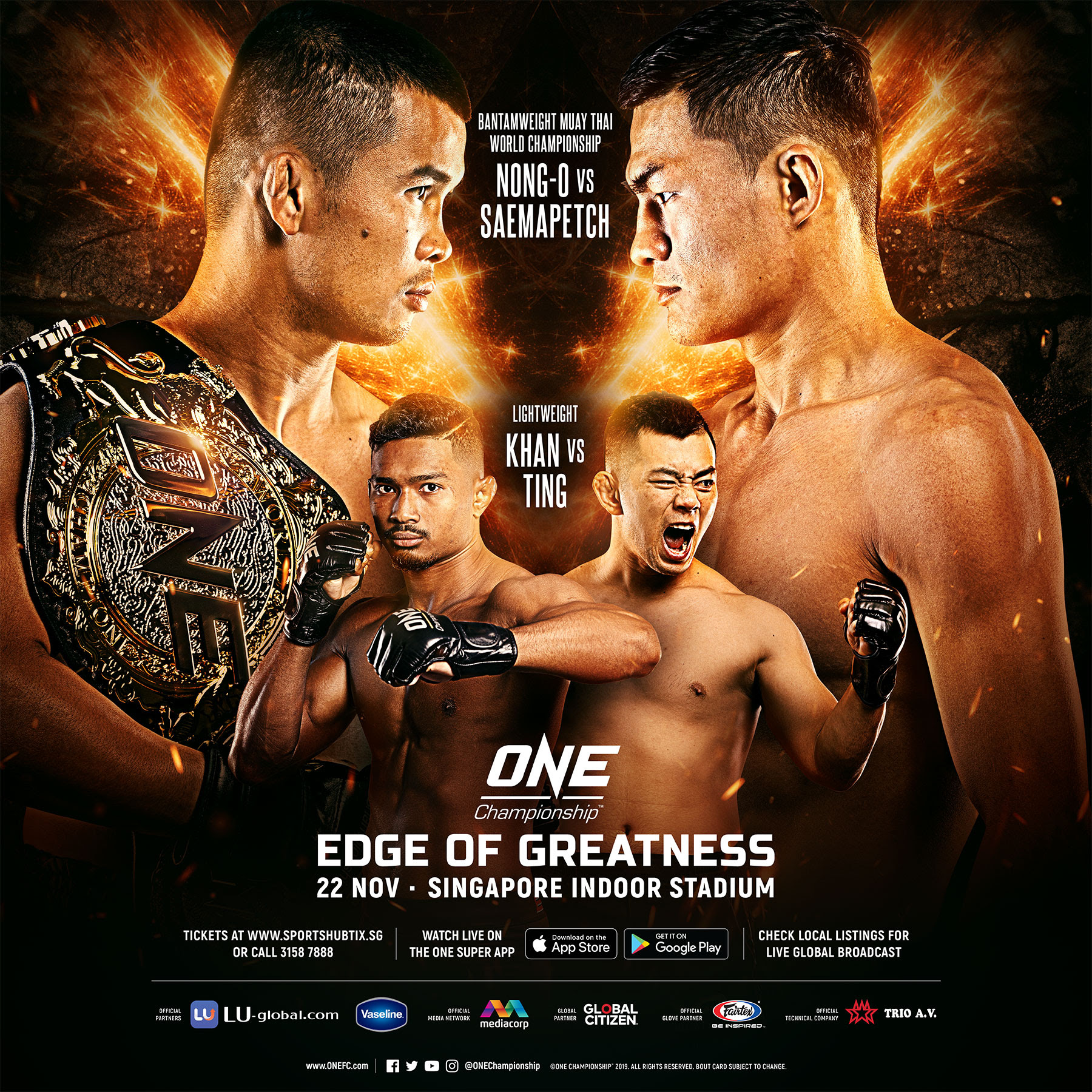 NONG-O GAIYANGHADAO TO DEFEND ONE BANTAMWEIGHT MUAY THAI WORLD TITLE AGAINST SAEMAPETCH FAIRTEX -