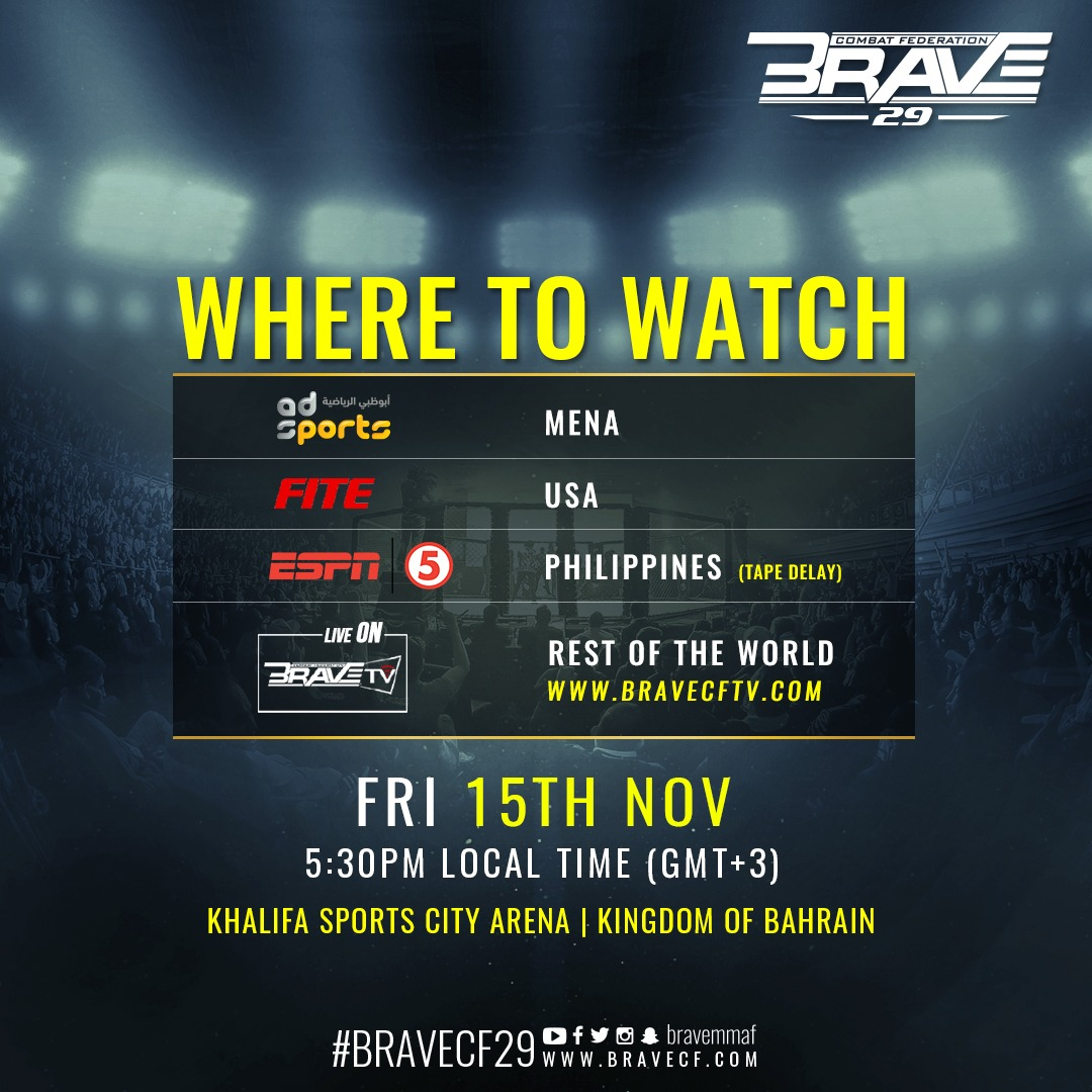 BRAVE CF 29: biggest event in Asia will be available live and free through BRAVE CF TV - Brave