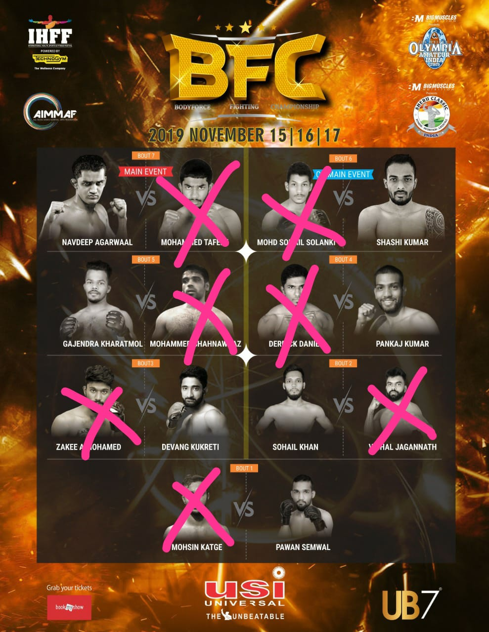 Here are the results of the recently concluded 3 Day Fight event ( MMA & Kickboxing ) organised by AIMMAF - IHFF