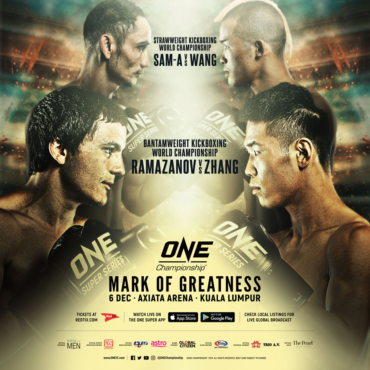 ALAVERDI RAMAZANOV TAKES ON ZHANG CHENGLONG FOR INAUGURAL ONE BANTAMWEIGHT KICKBOXING WORLD CHAMPIONSHIP - ONE