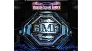 Dwayne 'THE ROCK' Johnson walks off to the Diaz vs Masvidal weigh ins with the BMF belt - BMF