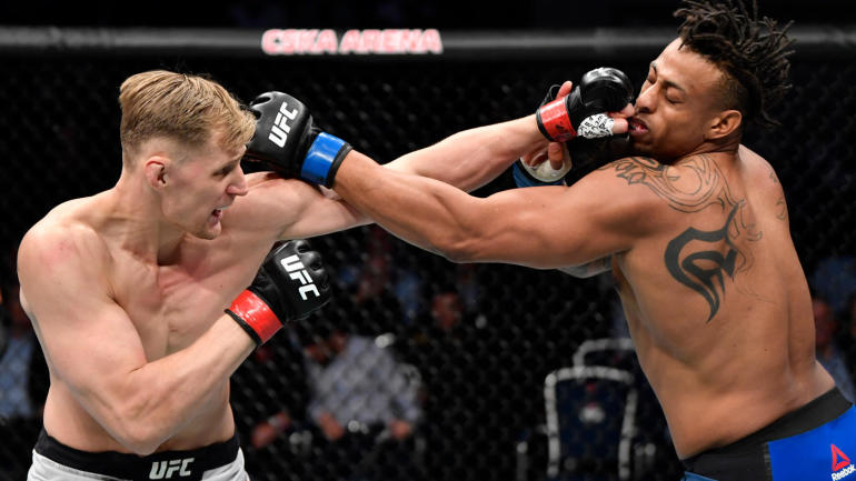 Greg Hardy reacts to his loss against Alexander Volkov at UFC Moscow - Hardy