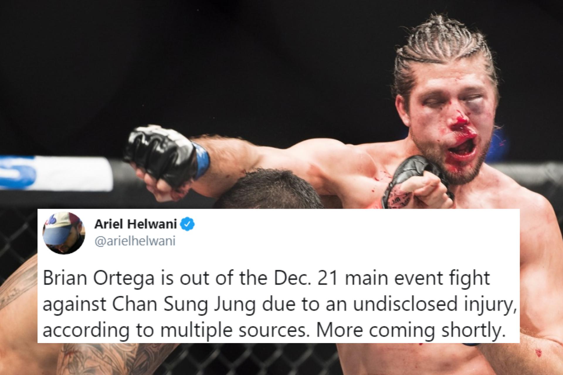 BREAKING: Brian Ortega reportedly out of Korean Zombie fight due to injury - Ortega