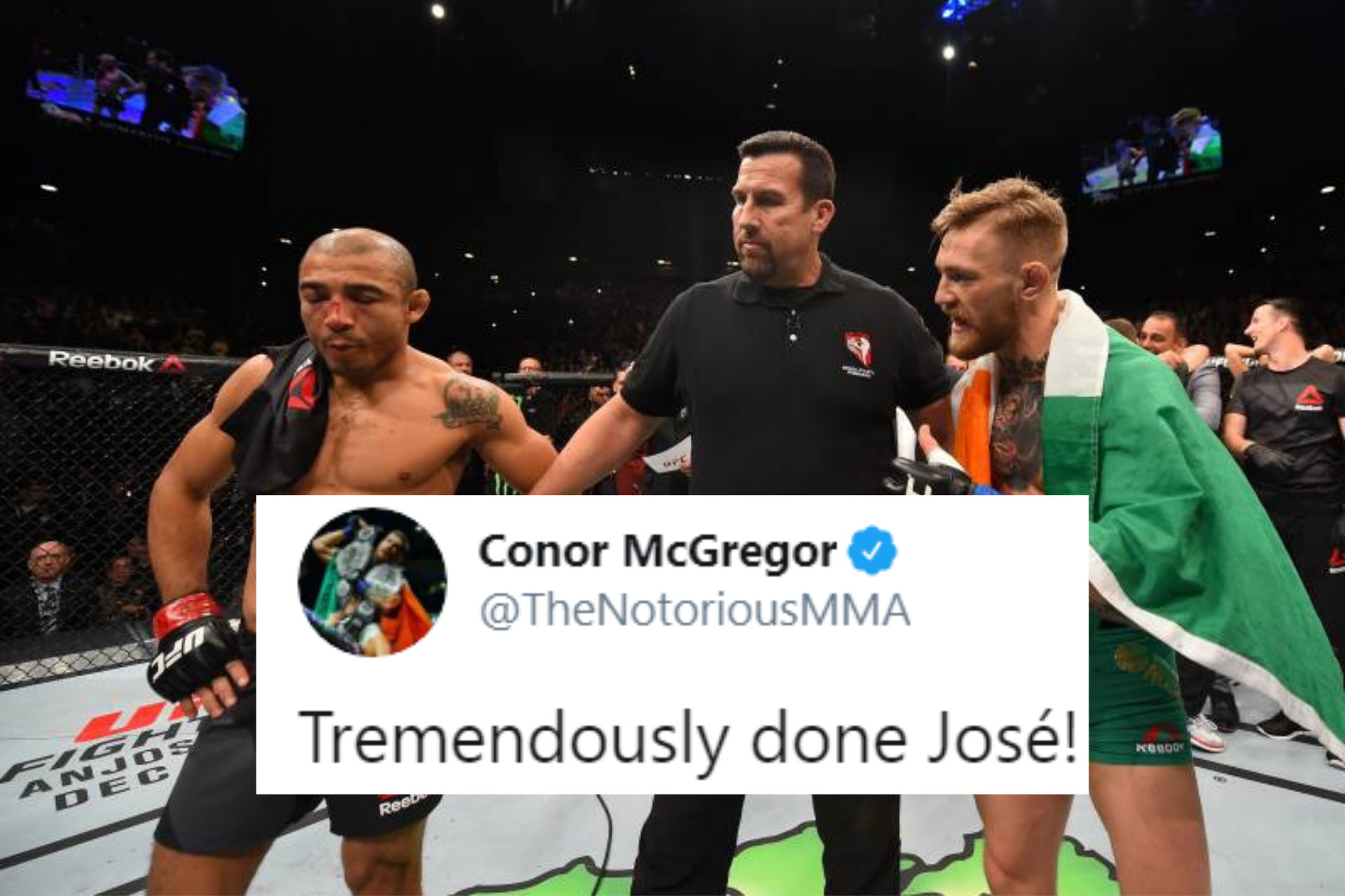 Conor McGregor reacts to Jose Aldo making weight for UFC 245 - Jose