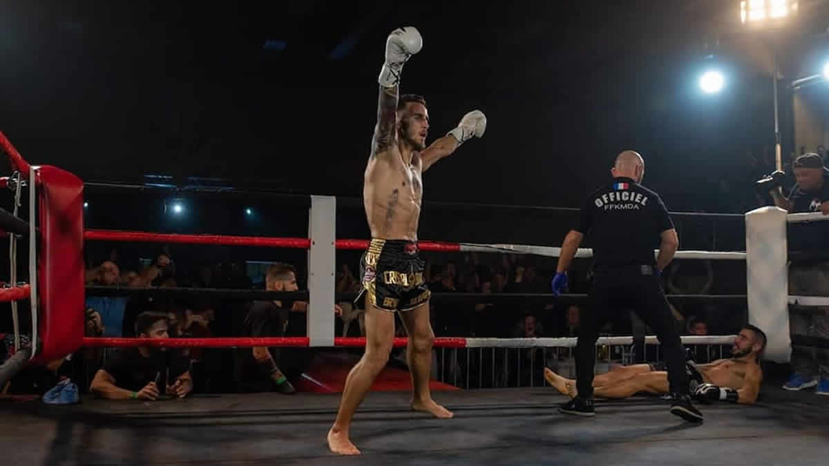 Bryan Lang earns WKN European super featherweight title by KO with flying knee against Nicola Canu in Baccarat, France -