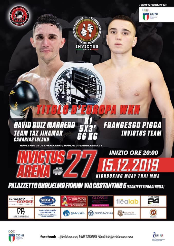 Francesco Picca faces David Ruiz Marrero in WKN European super lightweight title fight this Sunday in Rome, Italy - Riccardo Lecca