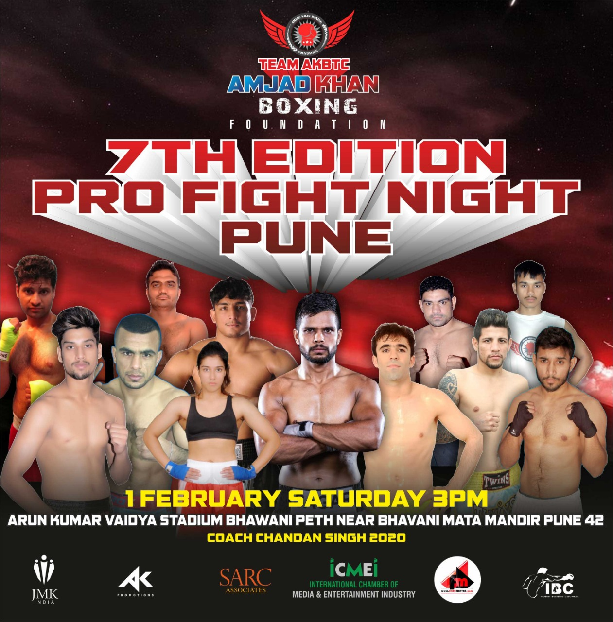Amjad khan boxing training center (AKBTC) presents the 7th Pro Fight Night event in Pune for 1st February - Amjad