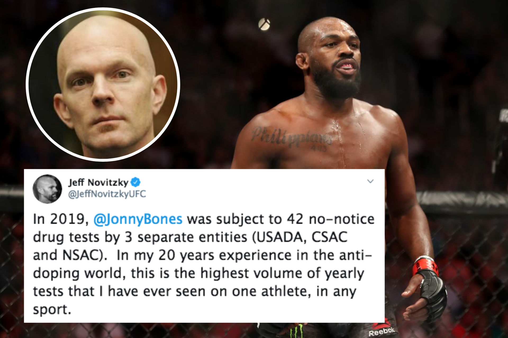 UFC News: Jeff Novitzky reveals that Jon Jones was tested a whopping 42 times in 2019 - the most for any athlete ever! - Jon Jones