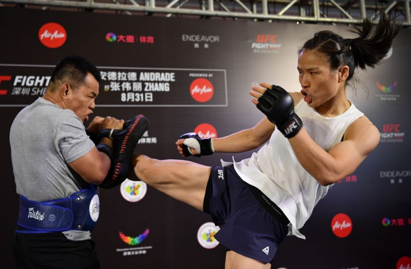 UFC News: Watch Weili Zhang destroy pads...are these some of the fastest hands you've seen?! - Weili Zhang