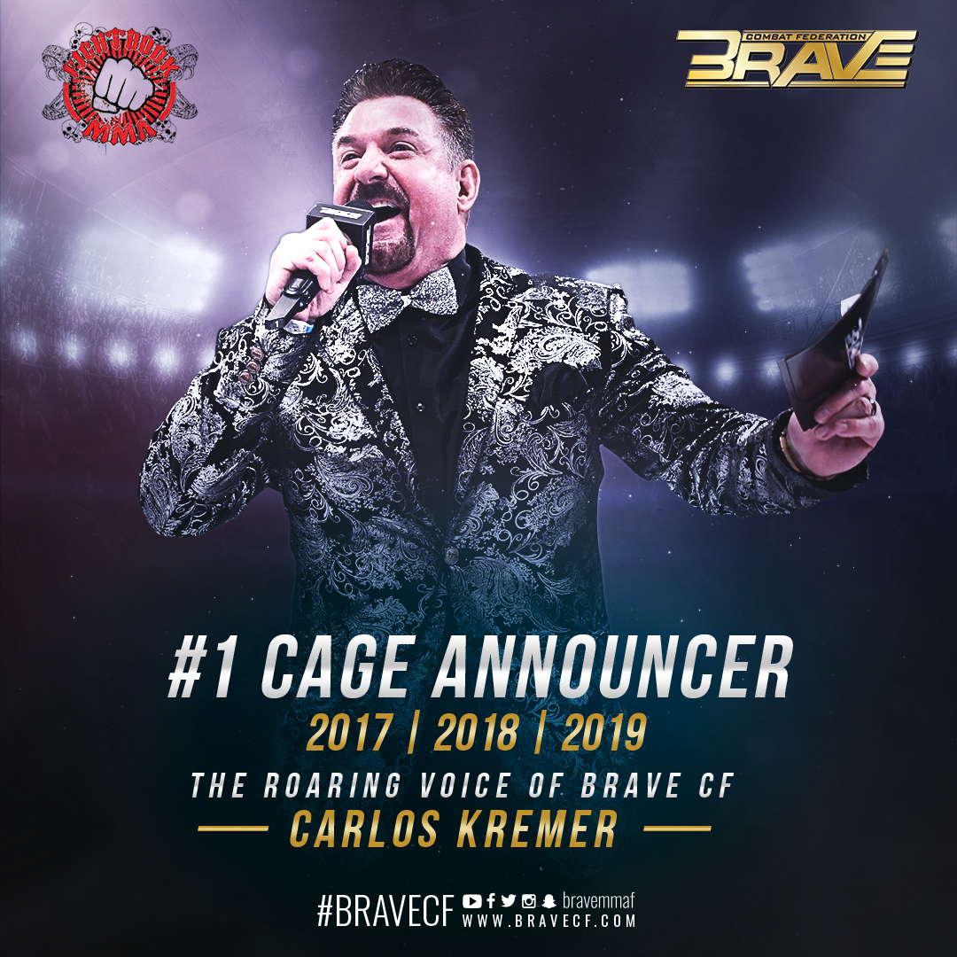"""Carlos Kremer wins """"MMA Cage announcer of the year"""" for the 3rd consecutive year -"""