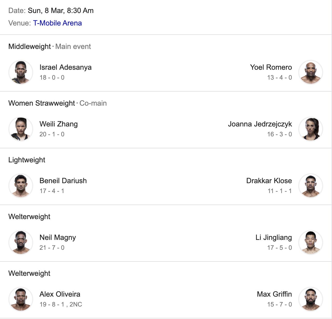 UFC 248: Adesanya vs. Romero -