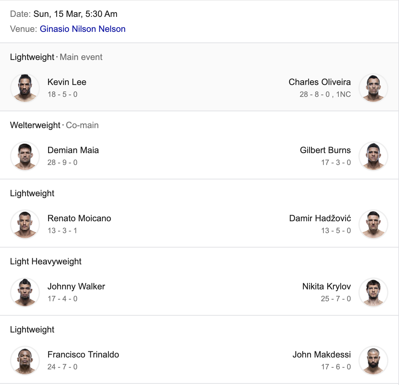 UFC Fight Night: Lee vs. Oliveira -