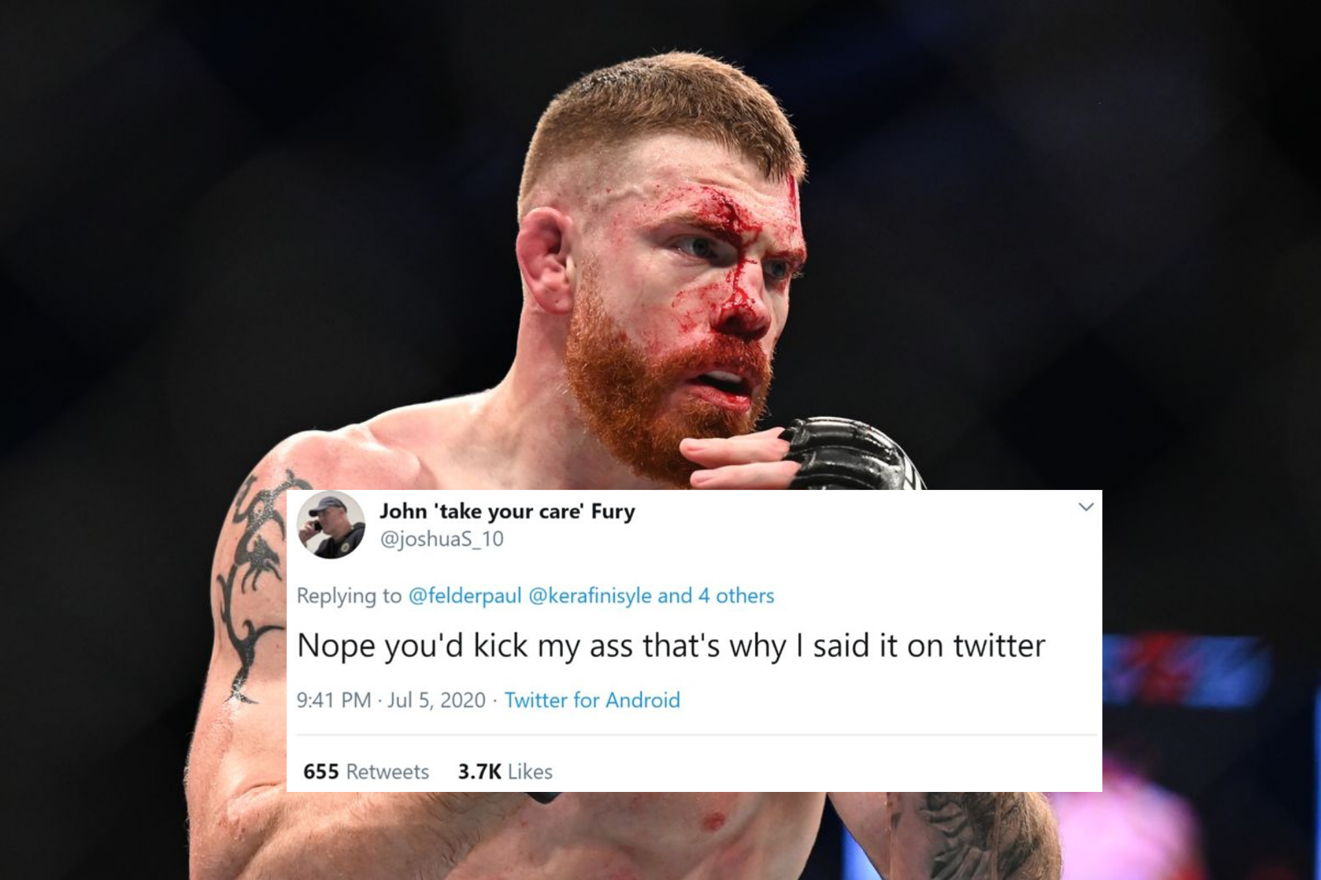 Read Paul Felder's hilarious Twitter interaction with fan who asked him to focus on commentary! - Paul Felder