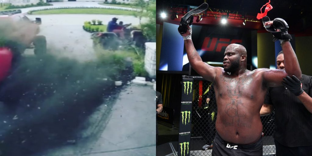 "(VIDEO) Derrick Lewis and his son smash the ATV into a pillar : ""We're OK"" - Derrick Lewis"