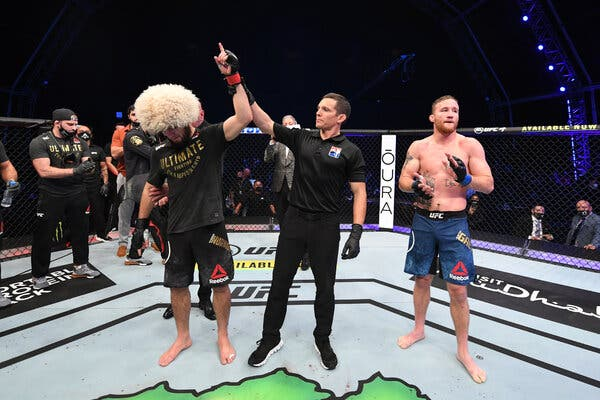 Justin Gaethje reacts to his loss against Khabib Nurmagomedov at UFC 254 - Gaethje