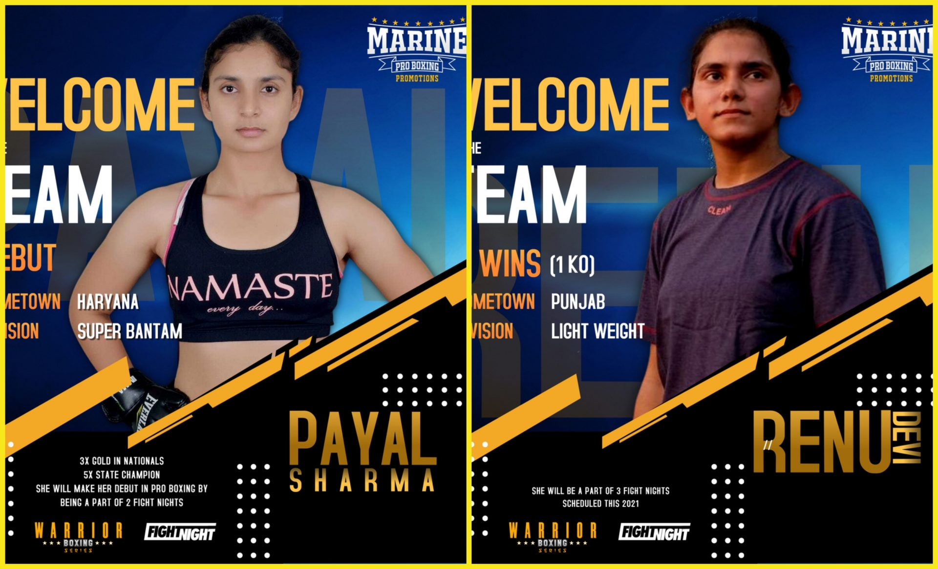 Female boxing stars Renu Devi and Payal Sharma sign with Marine Pro Boxing Promotion - Renu