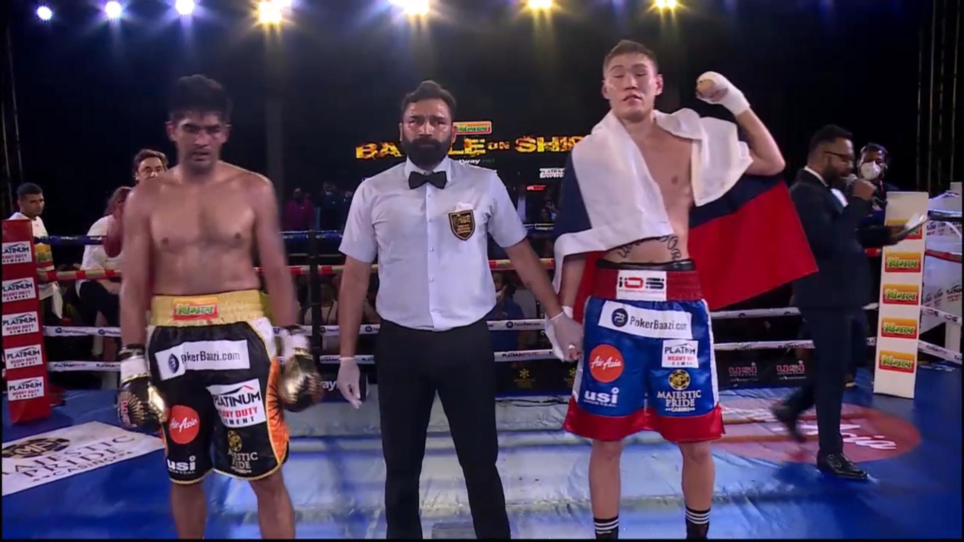 Artysh Lopsan defeats Vijender Singh via TKO in Round 5 - vijender