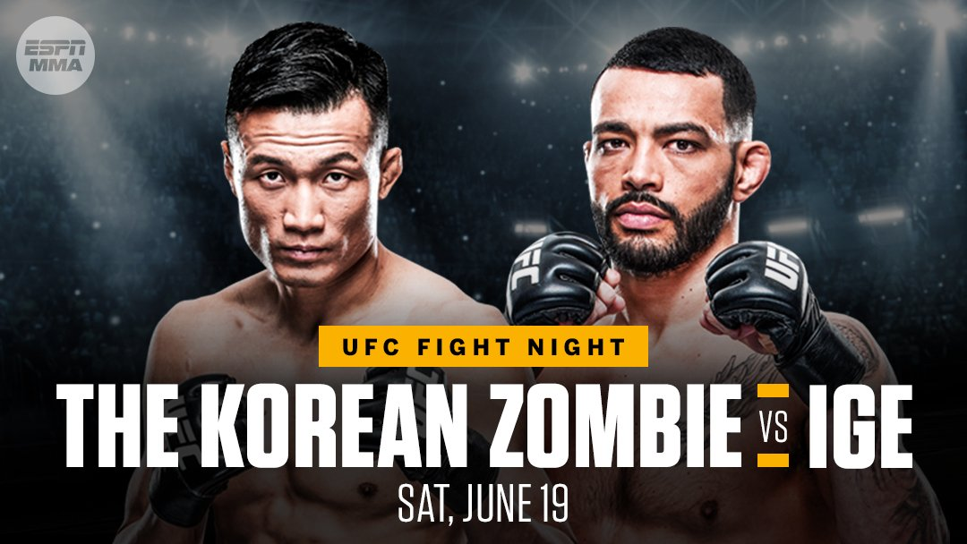 The Korean Zombie to fight Dan Ige at UFC Fight Night Event on June 19 - Dan Ige