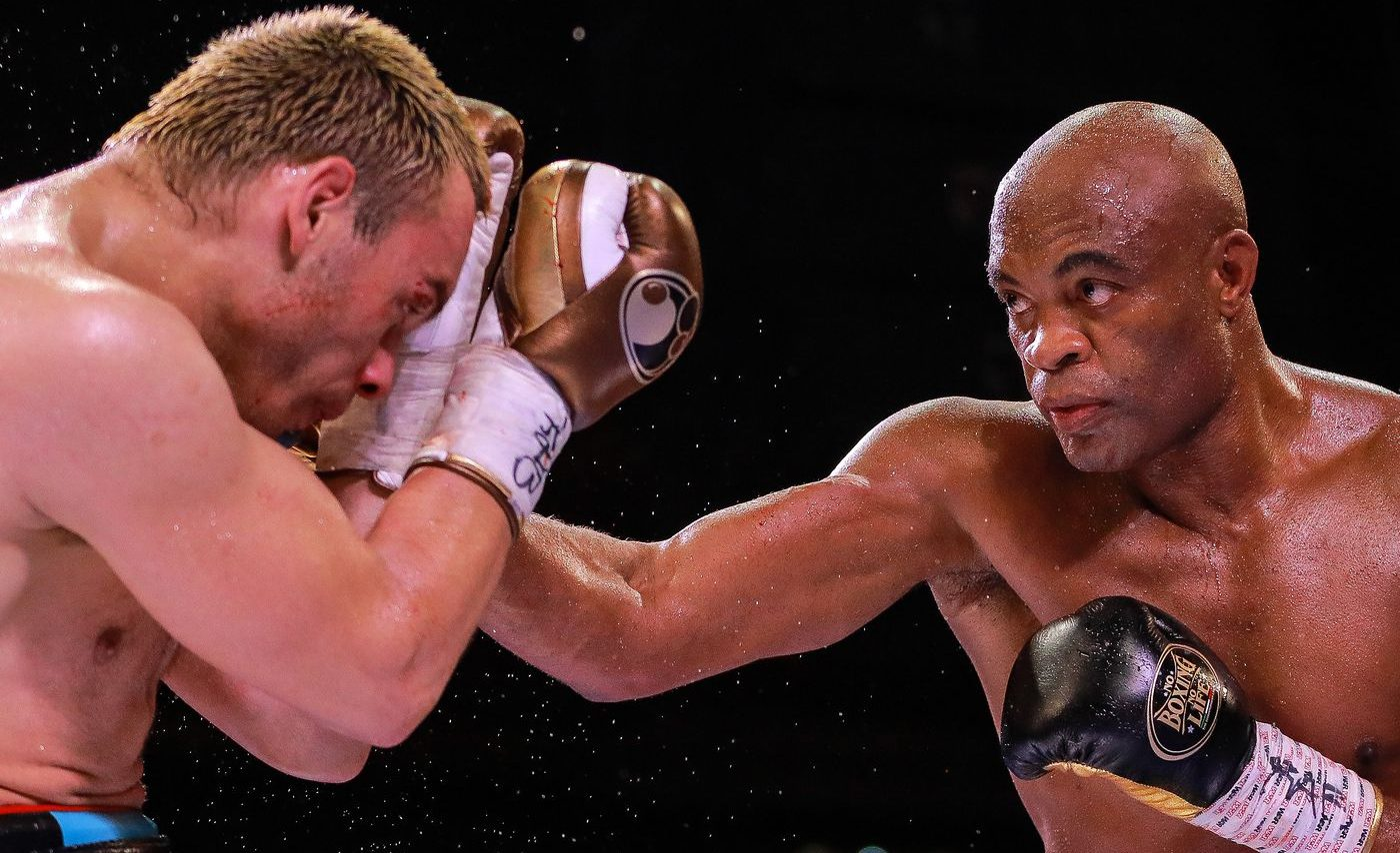 Anderson Silva reacts to his win over Julio Cesar Chavez Jr - anderson