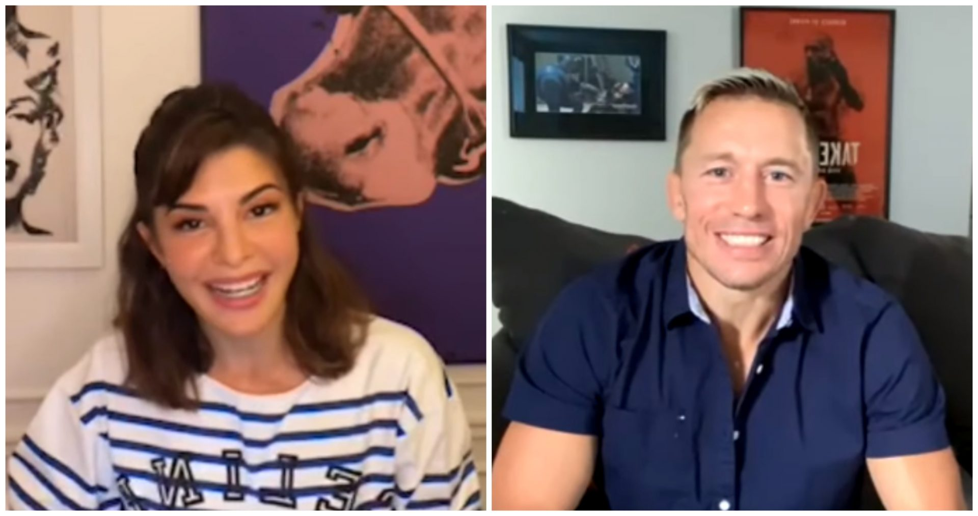 MMA legend Georges St-Pierre discusses his self-defense programme and meditation techniques to Bollywood icon Jacqueline Fernandez - Georges St-Pierre