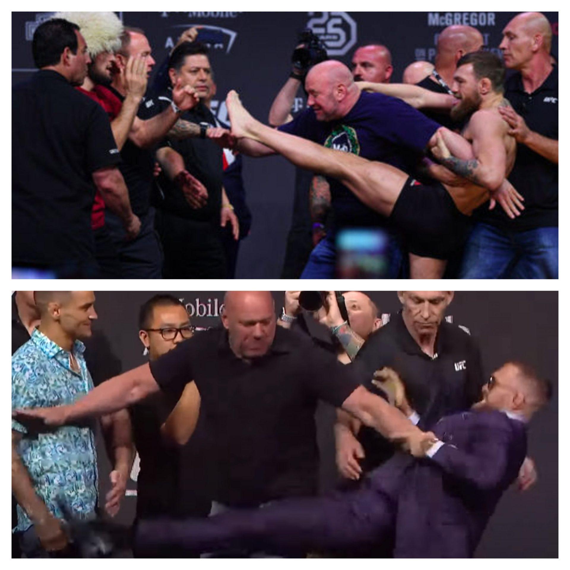 Watch: Conor McGregor leg kicks Dustin Poirier at UFC 264 press conference - McGregor