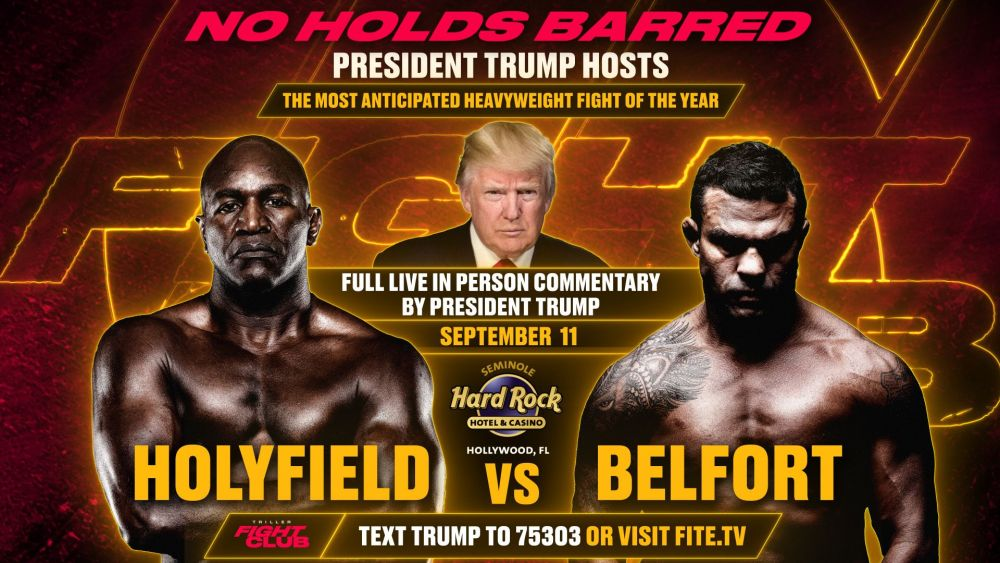 Donald Trump will be commentating for the Evander Holyfield vs Vitor Belfort Boxing match - trump